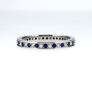 Blue sapphire and diamond eternity wedding band, white gold ring, sapphire pave ring, blue wedding ring, anniversary band, unique, thin ring