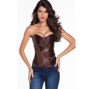 Corselet Women Brown Brocade Steampunk Corset Top With G-string Plus XXL Sexy Victorian Costume Lingerie Set Bustiers & Corsets