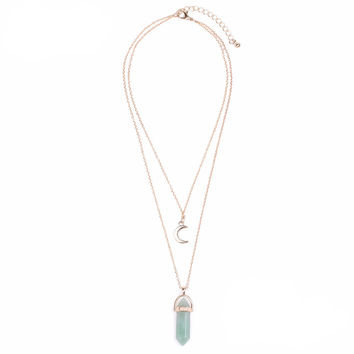 Gold Crystal Layer Necklace