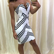 Chevron Stripe Plunging Tube Dress