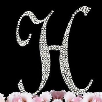 Silver Letter Initial H Birthday Crystal Rhinestone Cake Topper H Party Monogram