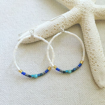 Bohemian Hoop Earrings - Seed Bead Earrings - Lightweight Hoop Earrings - Beaded Chandelier Earrings - Boho Earrings - Tribal Hoop Earrings