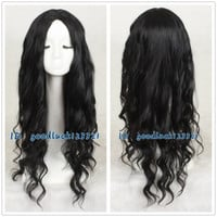 Free Shipping Fashion Long BLACK Curly Wavy Hair Wig Cosplay Wig no bang +a wig cap