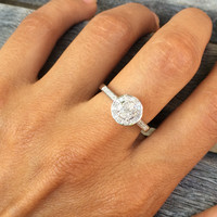 REAL 0.25 Carats Diamond Halo Promise Sterling Silver Ring