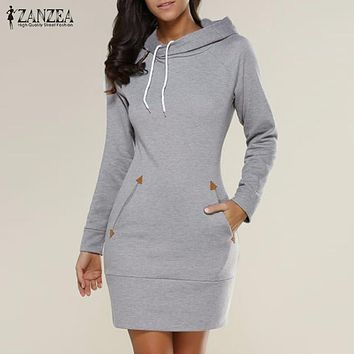 ZANZEA Women Autumn Winter Dress 2017 New Arrival Casual Slim Solid Long Sleeve Mini Dresses Hooded Plus Size Vestidos