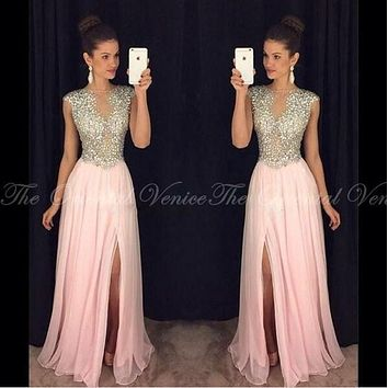 Bling Crystal Beaded Pink Prom Dresses 2017 Sheer Neck Chiffon A Line Party Dress Evening Gowns Fast Shipping Vestido De Festa