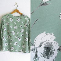 Mint Floral Printed Long Sleeve Blouse