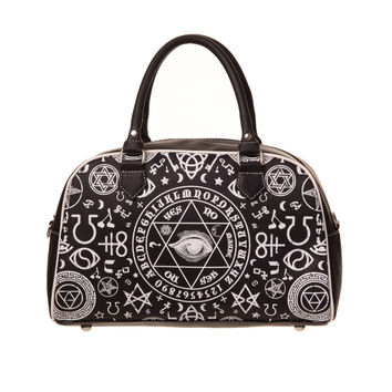 Banned Gothic Black Magic Occult Pentagram & Esoteric Symbols Bowler Bag