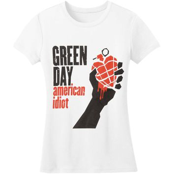 Green Day Women's  American Idiot Girls Jr Fashion Top White