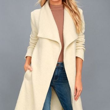 Isaac Light Beige Boucle Wrap Coat