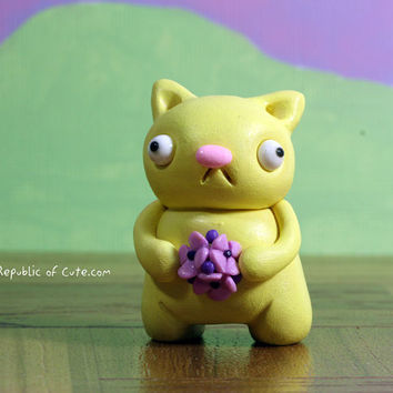 Yellow Cat Figurine with Purple Flowers - Miniature Polymer Clay Sculpture - Geeky Desk Accessory - Fun Decor for Kids Teens and Adults