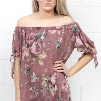 Falling Slowly Floral Off Shoulder Knit {Mauve Mix}