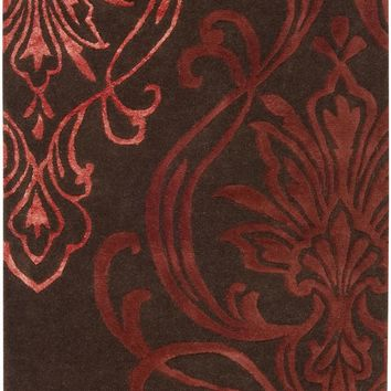 Surya CAN1950 Modern Classics Brown, Red Runner Area Rug