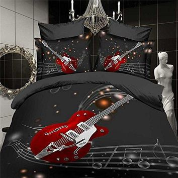3d Oil Painting Music Note, the Guitar 4pcs Bedding Sets,cotton Material Beautiful Creative 3d Bedding Sets Queen Size Christmas
