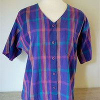Vintage Plaid Blouse by Jones New York, Size 10 from Maison Chantal Michael