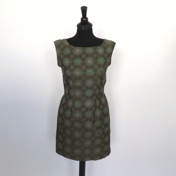 Vintage 1960s Silk Mod Mini Dress Green Ethnic Thai Silk Peacock India Print Sundress Sleeveless Tank Shift  Dress Size Small Wiggle Dress