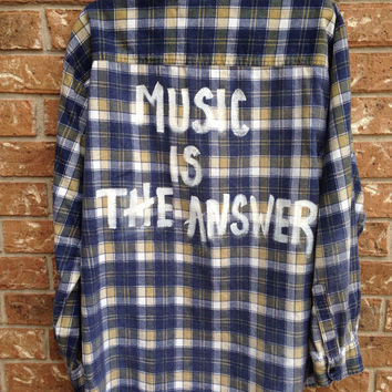 """Plaid flannel """" Music is the Answer"""" hand painted shirt // soft grunge"""