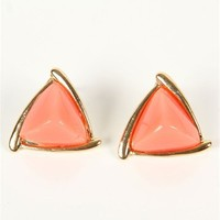 Pyramid Coral Stone Earrings