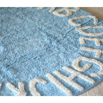 Blue ABC Alphabet Washable Rugs - Round Nursery Rug - 100% Cotton