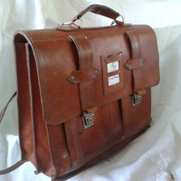 Vintage French Tan Leather Satchel in perfect condition c. 1950's vintage bag