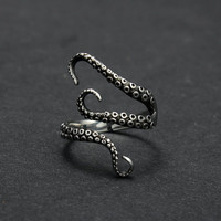 Gothic Punk Titanium Steel Deep sea Octopus Finger Opened Ring for Women Men Fashion Jewelry Adjustable Size Free Shipping