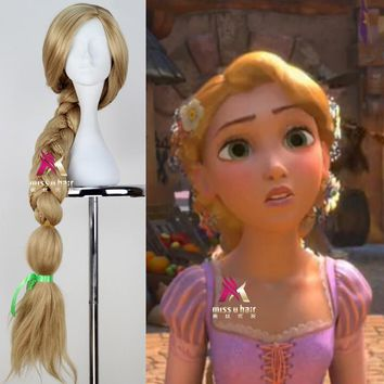 New Tangled Rapunzel Cosplay Wig Halloween Role Play Long Ponytail Cos Hair Adult Golden Wig