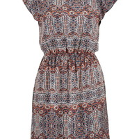 Patterned Open Scoop Back Chiffon Dress - Multi
