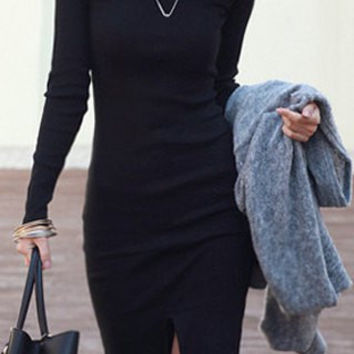 Black Turtle Neck Long Sleeve Midi Dress