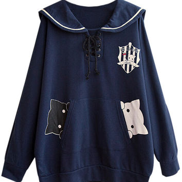 Cartoon Print Sailor Collar Lace-Up Sweatshirt