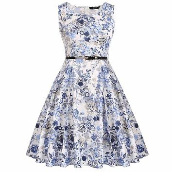 Floral Swing Summer Dress with Blue Grey Flowers
