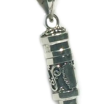 Sterling Silver Cylinder Prayer Box With Hearts and Black Onyx Pendant
