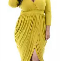 Yellow Plus Size V-Neck Long Sleeve Wrap Dress