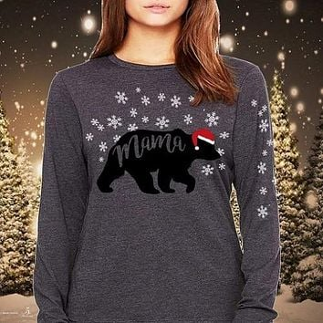 Southern Attitude Preppy Mama Bear Holiday Long Sleeve T-Shirt
