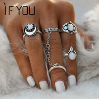 IF YOU 2017 5PCs/set Vintage Boho Steampunk Sun Moon Pattern Stone Midi Ring Sets for Women Finger Knuckle Link Chain Rings -in Rings from Jewelry & Accessories on Aliexpress.com | Alibaba Group