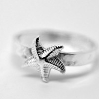 Silver Starfish Ring, Sterling Silver Ring, Animal Jewelry