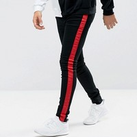 Sixth June Super Skinny Jeans In Black With Red Stripe at asos.com