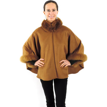 Baby Alpaca Cape with Fur Collar and Sleeves - Camel