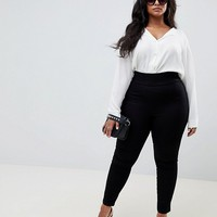 ASOS DESIGN Curve pull on jegging in clean black at asos.com