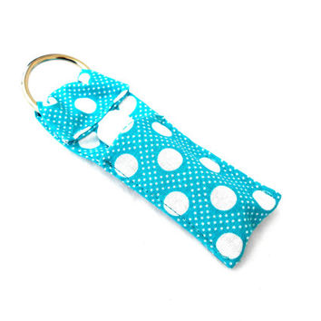 Teal Polka Dots Chapstick Keychain - Teal White Lip Balm Holder Cozy