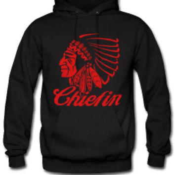 Men's Black Chiefin Indian Hoodie- Red Cannabis Logo