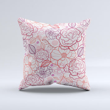 Subtle Pink Floral Illustration Ink-Fuzed Decorative Throw Pillow