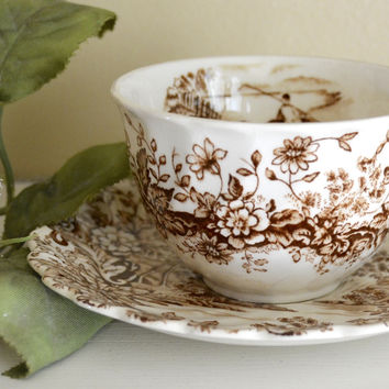 Peaceful Summer Waterfall Mountains Brown Tea Cup & Saucer Transferware  Scrolls & Roses