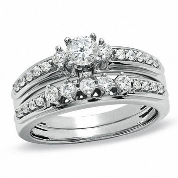 3/4 CT.  Diamond Bridal Engagement Ring Set in 14K White Gold