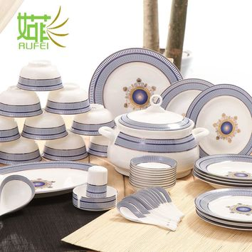 The dishes set tableware Jingdezhen household porcelain Korean dishes creative Chinese simple dishes