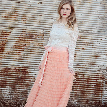 Long Coral Blush Tiered tulle skirt , Blush Tulle skirt, Coral ruffled skirt, wedding dress alternative, tiered tulle maxi skirt