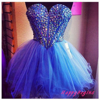 Short prom dress - blue beaded prom dress / short girls party dress / cocktail dress / homecoming dress / evening dress