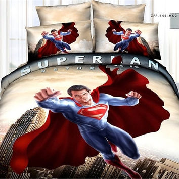 2014 new Fashion Superman classic brand 3D Bedding 4pcs pure cotton satin bedding set /comforter set/ duvet cover set/ bed sheet (Color Yellow) (Size: Queen, Color: Yellow) = 1946095812