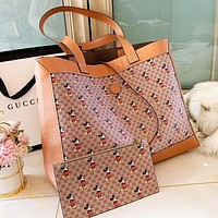 GUCCI x Disney Shopping Bag Leather Handbag Tote Satchel Shoulder Bag Purse Wallet Set Two Piece
