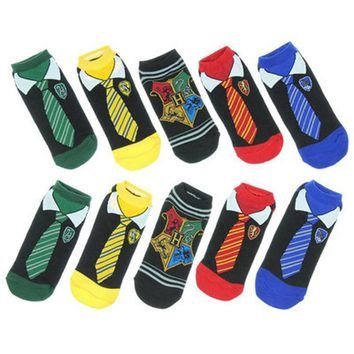 Fashion Painting Art Women Cotton Socks Harry Potter Cosplay Halloween Tie Pattern Hip Hop Harajuku Calcetines Happy peonfly