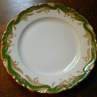 Set of 3 Green and Gold Charles Ahrenfeldt French Depose Limoges Plates made for J.E. Caldwell & Co Philadelphia